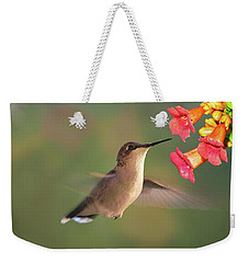 Hummer With Trumpet Vine Flowers Weekender Tote Bag by Judy Johnson