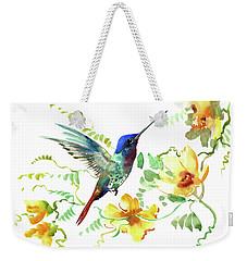 Hummibgbird And Yellow Flowers Weekender Tote Bag
