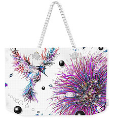 Weekender Tote Bag featuring the digital art Humming Bird And Flower by Darren Cannell