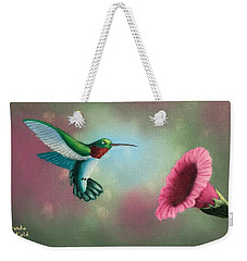 Humming Bird Feeding Weekender Tote Bag by Brenda Bonfield