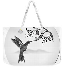 Weekender Tote Bag featuring the digital art Hummingbird On Oval by Vincent Autenrieb