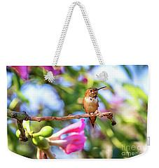 Humming Bird Pink Flowers Weekender Tote Bag by Stephanie Hayes