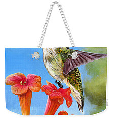 Hummingbird And A Trumpet Vine 2 Weekender Tote Bag by Phyllis Beiser