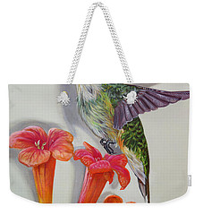 Hummingbird And A Trumpet Vine Weekender Tote Bag by Phyllis Beiser