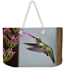 Hummingbird And Agastache Weekender Tote Bag by Kathy Eickenberg