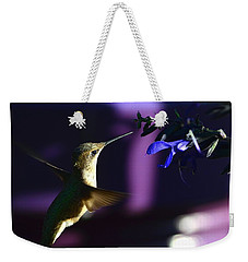 Hummingbird And Blue Flower Weekender Tote Bag by Kathy Eickenberg