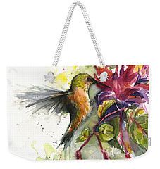 Hummingbird And Fuchsia Weekender Tote Bag by Olga Shvartsur