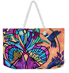 Hummingbird And Stained Glass Hearts Weekender Tote Bag by Lori Miller