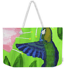 Weekender Tote Bag featuring the painting Hummingbird by Artists With Autism Inc