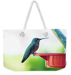 Hummingbird At The Feeder Weekender Tote Bag by Kimo Fernandez