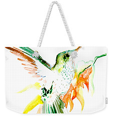 Hummingbird Green Orange Red Weekender Tote Bag by Suren Nersisyan