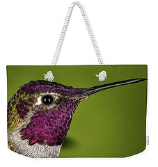Hummingbird Head Shot With Raindrops Weekender Tote Bag by William Lee