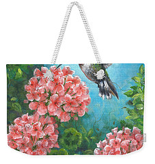 Weekender Tote Bag featuring the painting Hummingbird Heaven by Kim Lockman