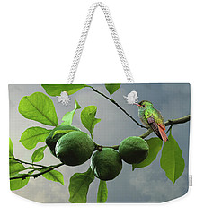 Hummingbird In Lime Tree Weekender Tote Bag
