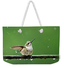 Hummingbird In The Rain Weekender Tote Bag by Christina Rollo