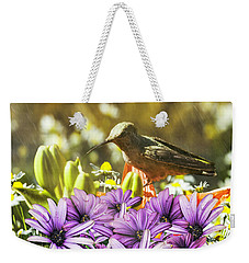 Weekender Tote Bag featuring the photograph Hummingbird In The Spring Rain by Diane Schuster
