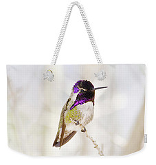 Weekender Tote Bag featuring the photograph Hummingbird Larger Background by Rebecca Margraf