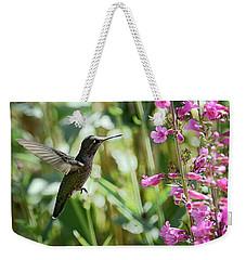Hummingbird On Perry's Penstemon Weekender Tote Bag