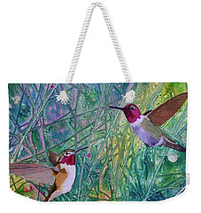 Hummingbird Pair Weekender Tote Bag by Nancy Jolley