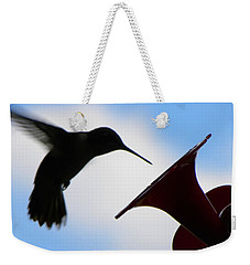 Weekender Tote Bag featuring the photograph Hummingbird Silhouette by Sandi OReilly