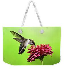 Hummingbird With Zinnia Weekender Tote Bag