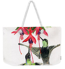 Hummingbirds And Fuchsia Weekender Tote Bag