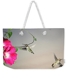 Weekender Tote Bag featuring the photograph Hummingbirds Coming And Going by Joyce Dickens