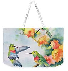 Hummingbirds With Orange Flowers Weekender Tote Bag