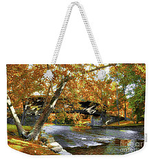 Weekender Tote Bag featuring the photograph Humpback Covered Bridge In Autumn by Mel Steinhauer