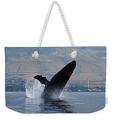 Humpback Whale Breach Weekender Tote Bag by Jennifer Ancker