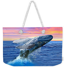 Humpback Whale Breaching At Sunset Weekender Tote Bag