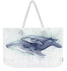 Humpback Whales Painting Watercolor - Grayish Version Weekender Tote Bag by Olga Shvartsur