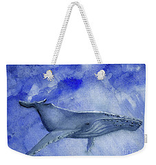 Humpback Yearling Under Our Boat Weekender Tote Bag by Randy Sprout