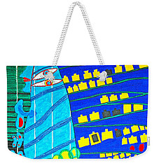 Hundertwasser Blue Moon Atlantis Escape To Outer Space Weekender Tote Bag