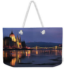 Hungarian Parliament By Night Weekender Tote Bag by Odon Czintos