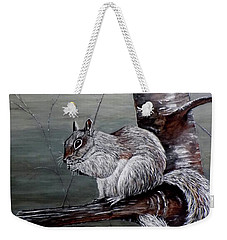Hungry Squirrel Weekender Tote Bag by Judy Kirouac
