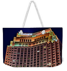 Weekender Tote Bag featuring the photograph Huntington Bank Cleveland by Frozen in Time Fine Art Photography