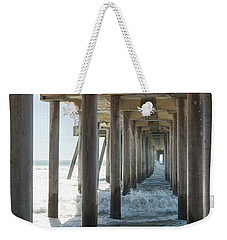 Weekender Tote Bag featuring the photograph Huntington Beach Pier From Below by Ana V Ramirez