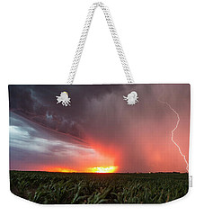 Weekender Tote Bag featuring the photograph Huron Lightning  by Aaron J Groen