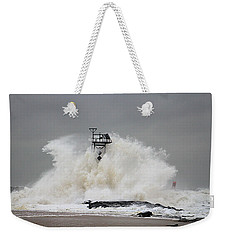 Hurricane Jose Wave At The Inlet Jetty Weekender Tote Bag