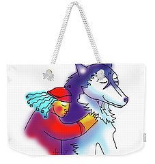 Weekender Tote Bag featuring the drawing Husky Love by Angela Treat Lyon