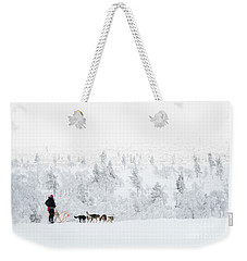 Weekender Tote Bag featuring the photograph Husky Safari by Delphimages Photo Creations