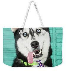 Husky With Tie Weekender Tote Bag by Stephanie Hayes