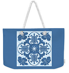 Hybiscus And Turtle Hawaiian Quilt Block Weekender Tote Bag