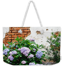 Hydrangea And Bricks Weekender Tote Bag by Menachem Ganon