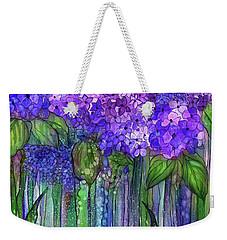 Weekender Tote Bag featuring the mixed media Hydrangea Bloomies 1 - Purple by Carol Cavalaris