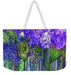 Weekender Tote Bag featuring the mixed media Hydrangea Bloomies 2 - Purple by Carol Cavalaris