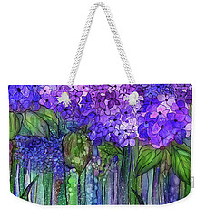 Weekender Tote Bag featuring the mixed media Hydrangea Bloomies 3 - Purple by Carol Cavalaris