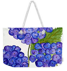 Weekender Tote Bag featuring the painting Hydrangea by Reina Resto
