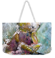 Weekender Tote Bag featuring the painting I Am Here For Youyou by Eleatta Diver
